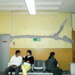 Reparación efectuada a muro de sala de espera, calle Heras.